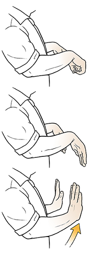 Three steps of man doing wrist stretch exercise.
